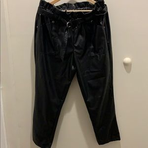 NY & Co High Waist Faux Leather Paper Bag Pants